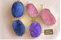 Wholesale 2017 Fashion natural stone amethyst crystal opal pink agate turquoise green aventurine agate crystal pendant necklace jewelry Redstone sweat