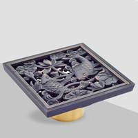 Wholesale European Style Black Copper Shower Drains Brass Floor Drain Deodorant Core Bathroom Washing Drainer