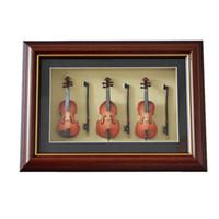 Wholesale New Fashion Hand mad Mini Wood Violin Base Model Combination Frame Violin Model Display Frame Wall Frame