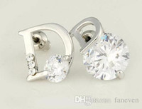 Wholesale luxury brand small letter designer flowers brincos bijoux bijouterie earrings for women