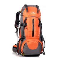 Wholesale 45 L Waterproof Outdoor Sport Backpack Hiking Trekking Camping with Rain Cover Athletic Outdoor Bags orange black dark blue