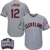 Wholesale Best Quality Youth Kids Cleveland Indians Francisco Lindor Grey Road World Series Bound New Arrive Jersey