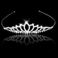 Wholesale Wedding Accessory Women Party Pageant Crystal Bridal Tiara Silver Plated Crown Hairband