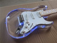Wholesale Special New Acrylic ST Electric Guitar Maple neck colorful lights accep tcustomization