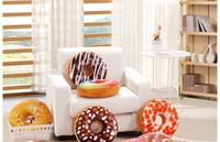 Wholesale New Plush Soft Donut Doughnut Food Back Cushion Pillow Saddle Car Set Kids Gift