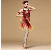 Wholesale Women Girls Latin Salsa Dance Leopard Print Fringe Dress Backless Adult Child Stage Costumes Tassel Cha Cha Ballroom Skirt FN071