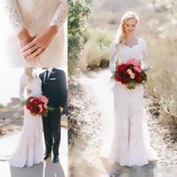 Wholesale Vintage White Lace Long Sleeve Sheath Wedding Dresses Cheap Modest V neck Full length Berta Mermaid Bridal Country Garden Wedding Gowns
