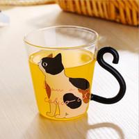 al por mayor palabras del gatito-La taza de cristal creativa linda del gatito del gato de la taza de la taza de té de la taza de la taza de café de la taza de la música / puntea / el envío rápido F2017703 de la oficina casera de las palabras inglesas
