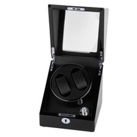 Wholesale New High Quality Rectangle Mute Automatic Double Watch Winder Box Gift Black Durable By DHL