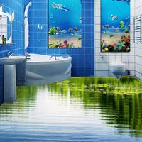 Wholesale Custom D Floor Wallpaper Clear Lake Nature Landscape Bathroom Floor Mural Sticker Home PVC Self adhesive Wallpaper Waterproof