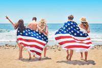 achat en gros de drapeau américain jet-2017 Round American Flag Print Serviette de plage Beach Throw Blanket withTassel Tapis de tapis de yoga 160 * 160cm 10pcs par DHL BKT106