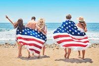 al por mayor lanzamiento de la bandera americana-2017 Tapa redonda de la estera de la yoga de la manta de la toalla de la playa de la toalla de playa de la impresión de la bandera americana 160 * 160cm 10pcs de DHL BKT106