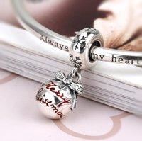 925 granos de plata esterlina para pulseras Feliz Navidad Bauble como regalo para las mujeres dulces Decoraciones de estilo lindo cabido pandaro DIY Joyería