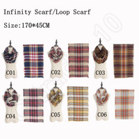 Wholesale Plaid Infinity Scarf cm Women Loop Scarf Blanket Lady Winter Tartan Pashmina Warm shawl colors OOA739