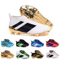 Wholesale Cheap Black Football Cleats - 2017 Cheap Online Best ace purecontrol 16.1 Shock Blue soccer boots Soccer Shoes Pure Control Cleats Soccer Boots FG Football Shoes