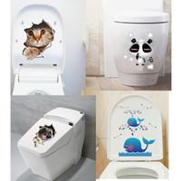 PVC bathroom posters - Hole View Vivid Cats D Wall Sticker Bathroom Toilet Living Room Decoration Animal Vinyl Decals Art Sticker Wall Poster