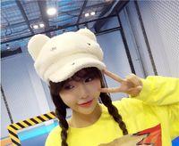 Wholesale 2016 Autumn and Winter Hat Women Tide Cute Cat Ears Plush Meng Brett Hats Five Colors