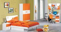 Wholesale Brand New MDF Child Teenage Kids Bedroom Furniture Set set kids bed Wardrobe Nightstand Bookcase Orange