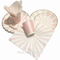 Wholesale People Birthday Party sets quot quot Paper Plates ml Paper Cups Paper Napkin Gold Pink White Stripe Paper Tableware Set