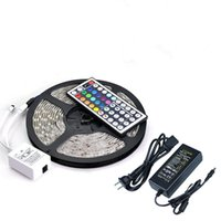 Decoration SMD 5050 Yes Waterproof Strips IP65 5M 300 Leds SMD 5050 RGB Lights Led Strips 60 leds M + Remote controller + 12V 5A power supply With EU US AU UK Plug