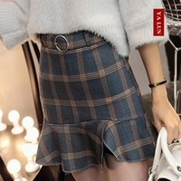 Wholesale 2016 new winter Z1022 package hip waist flounced skirt tail body lattice All match skinny fashion skirt