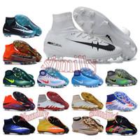 Wholesale mens high ankle Football Boots Cristiano CR7 Mercurial Superfly V Soccer Shoes ACC magista Obra II FG Soccer Cleats men neymar Hypervenom