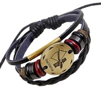 Wholesale Bracelets Zodiac Sings Fashion Jewelry Alloy Sagittarius Leather Bracelet Women s Casual Personality beaded Vintage Punk Bracelet B0216