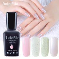 belle nail art - Belle Fille Bling Glitter Gel Nail Polish Light Pink Bling Shining Nail Gel For UV LED Lamp Vernis Semi Permanent Gel Poliah Art