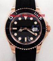 al por mayor caucho negro reloj pulsera-Rosa de oro Caucho Negro Índice pulsera Moda 40mm Cerámica Bezel Mens Watch 116655 Hombres Deportivos Relojes Automáticos