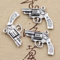 Wholesale Cents Charms pistol revolver gun mm Antique Making pendant fit Vintage Tibetan Silver DIY bracelet necklace