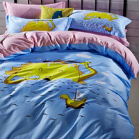 Wholesale 1606 soak up the sun cotton fabric with reactive printing pannel designs bed sheet four pieces home textile
