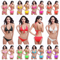 Bikinis bandages sling - swimming suit for women tassel Halter sling bandage backless solid quick dry Crop Top no steel care with pad biquini swimwear bikini set