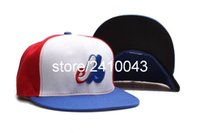 Wholesale Classic Montreal Expos Baseball Fitted Hats Men s Flat Full Closed Size Caps Logo Embroidery White Blue Red Color