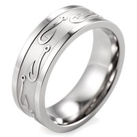Wholesale Good service Shardon mm width Titanium wedding Ring with Embossed Fishhooks size can be available