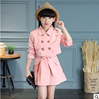 Wholesale New Girls Trech Spring Autumn Children s Turn Down Collar ColorS Trench Coat Sleeve and Collar Detachable Size4 ly117