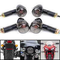 Wholesale 4Pcs Universal Motorcycle Black Mini Bullet Turn Signals Blinker Smoke Lens M00147 VPR