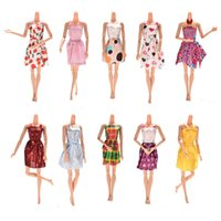 Wholesale 10PCS Mixed Styles Handmade for Barbie Dress Fashion Mini Doll Dress for Barbie Dolls Party Slim Dress Clothing Accessories