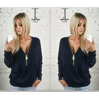 bell jumpers - New Women European and American summer New Casual V Neck Long Sleeve Zip up Jumper Pullover Tops G782