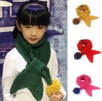Wholesale Girls Lovely Scarf Mermaid Winter Scarves Children s Muffler Baby Autumn and Winter Warm Scarf Boy Girl Knitted O Scarf Christmas Scarves
