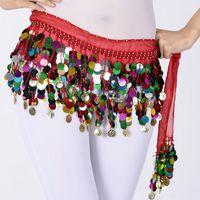 belly dance costume design - New Design Bellydance Indian Dance Hip Scarf Sequins Coins Belt Skirt Wrap Waist Chain Square Belly Dancing Costume Supplies UA0221