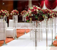 antique silver vase - Antique acrylic flower crystal floor vase with diamond crystal bead for wedding decoration