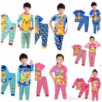 Wholesale Kids Pajamas Sets Boys Girls poke cartoon pajamas home wear suit pajama children clothing tops pants KKA933
