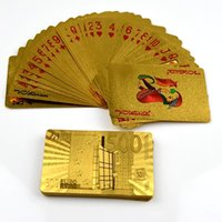 Wholesale Durable Waterproof Plastic Playing Cards EURO Gold Foil Golden Poker Cards K Gold Foil Plated Playing Cards Poker Table Games