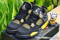 Air AA Jordan 4 Retro Trueno - Negro / Blanco-Tour Amarillo Jordans Retros 4s Thunder 308497 008 Zapatos de baloncesto con caja