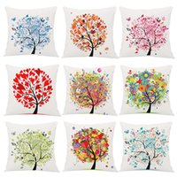 Wholesale DHL FREE colorful tree of life pillow case plush cloth pillow cover life tree cushion cover home sofa car decor