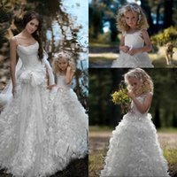 Wholesale 2017 White Long White Spaghetti Feathers flower girl dresses for weddings A Line Party organza Applique Baby girl flower girl dresses
