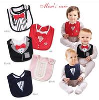 bib dress - Hot sale Solid red bowtie gentleman dress modelling saliva towel baby bibs threelayer of waterproof for free shopping
