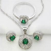 al por mayor niñas collar verde-Círculo rodeado de jade verde joyería de topázio blanco conjunto de mujeres pendientes de plata esterlina, colgante, collar, regalo de anillo libre