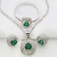 achat en gros de bijoux de jade vert-Cercle entouré de vert jade bijoux topaze blanches femmes boucles d'oreilles en argent sterling, pendentif, collier, cadeau anneau gratuit