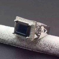 Wholesale Luxury sapphire ring for man mm genuine black sapphire pure sterling silver man ring from the biggest Chinese sapphire mine